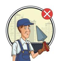 trabalhador da construção civil com pá não usando máscara para covid 19 vetor