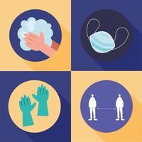 conjunto de ícones de prevenção covid-19 vetor