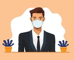 empresário trabalhando e usando máscara médica vetor