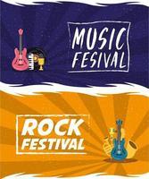 conjunto de cartaz de convite de entretenimento para festival de música