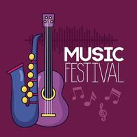 pôster do festival de música vetor