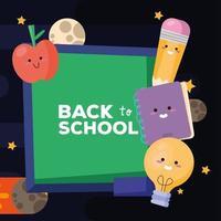 cartaz de letras de volta às aulas com quadro-negro e suprimentos vetor