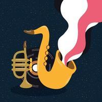pôster de música de saxofone vetor