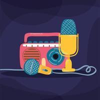 tocador de música de rádio e microfones