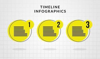 infográfico da linha do tempo com círculos amarelos vetor
