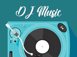 design de tema de festa de DJ de música. projeto de dj sobre fundo azul. vetor