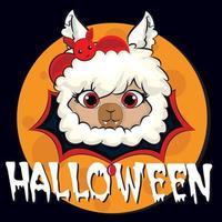 grande halloween com fofo animal lhama, abóbora, doces. objetos isolados. mão desenhada ilustração vetorial. design plano de estilo escandinavo. conceito para festa infantil vetor