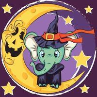 cartão de dia das bruxas com elefante fofo. estilo dos desenhos animados. ilustração vetorial vetor