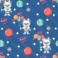 astronauta de lhama fofo em padrão sem emenda de espaço aberto com o planeta vetor