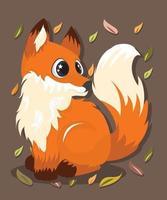 ilustração vetorial de raposa fofa desenhada à mão vetor
