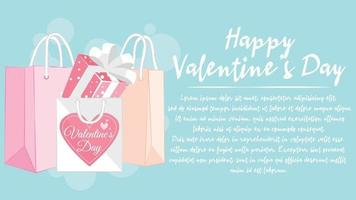 caixa de presente e sacola de compras. ilustração para design de banner do dia dos namorados.