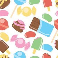 padrão sem emenda com doces, donuts, sorvete doce e outros elementos. vetor