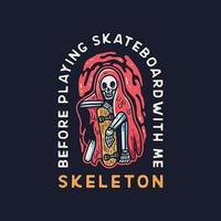 crânio sentado com skate design de roupas estilo vintage vetor
