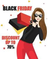 mulher atraente shopaholic segurando sacolas de compras com óculos de sol, fazendo gesto de silêncio, colorido, venda secreta, tendência da moda de sexta-feira negra. vetor