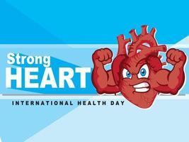 ilustração de coração forte. dia internacional da saúde. coração flexionando o personagem de desenho animado de músculos.