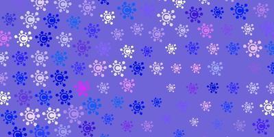 modelo de vetor rosa claro, azul com sinais de gripe.