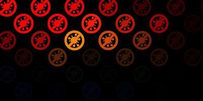 fundo laranja escuro do vetor com covid-19 símbolos.