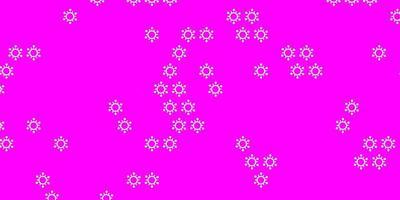 pano de fundo vector rosa claro com símbolos de vírus.