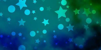 pano de fundo azul claro, verde do vetor com círculos, estrelas.