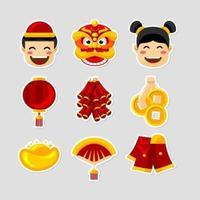 coleção fofa de adesivos festivos do ano novo chinês vetor