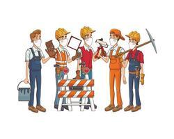 trabalhadores da construção civil usando máscaras e ferramentas médicas vetor