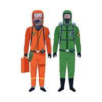 trabalhadores vestindo roupas de biossegurança vetor