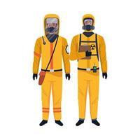 trabalhadores vestindo roupas de biossegurança personagens vetor