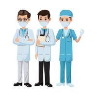 médicos do sexo masculino usando máscaras médicas vetor