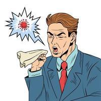 empresário tossindo como sintoma comum vetor