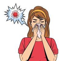 mulher com corrimento nasal devido ao sintoma covid19 vetor