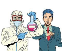 empresário e homem com roupa de biossegurança levantando tubo de ensaio vetor