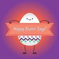 feliz páscoa com ovos felizes vetor