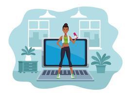 mulher negra praticando exercícios online para quarentena vetor