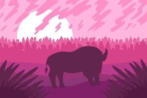 paisagem com bizon selvagem em campo vetor