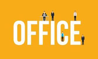 empresários corporativos e design de vetor de texto de escritório