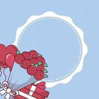 design de corações, balões, rosas e presentes para o dia dos namorados