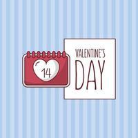 design de cartão de dia dos namorados com calendário de coração vetor