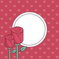 Dia dos Namorados selo carimbo com desenho vetorial de rosas