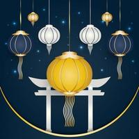 lanternas coloridas elegantes e portão branco no estilo cultural chinês vetor