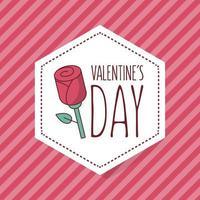 design de cartão de dia dos namorados com rosa