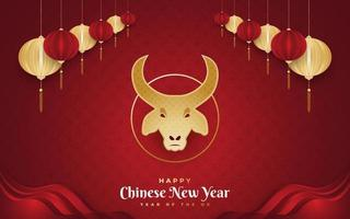 feliz ano novo chinês 2021 ano do boi. banner do ano novo chinês decorado com cabeça de boi dourada e lanternas douradas sobre fundo de papel vermelho vetor