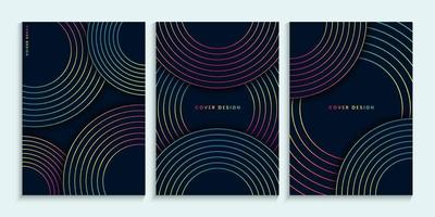 design de capas escuras com círculos coloridos lineares vetor