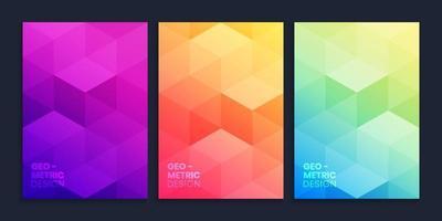 coleção de fundo gradiente geométrico com cubos 3D vetor
