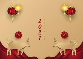 Banner de saudação do ano novo chinês 2021 com boi dourado e lanterna em fundo de papel cortado vetor
