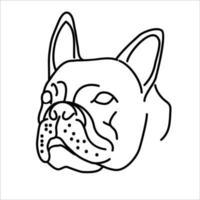 design de ícone de bulldog animal. vetor, clip-art, ilustração, estilo de design de ícone de linha. vetor