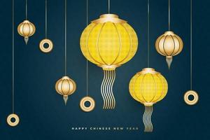 banner ou pôster de feliz ano novo chinês com elegantes lanternas douradas e amarelas sobre fundo azul vetor