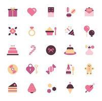 conjunto de ícones do dia dos namorados. vetor