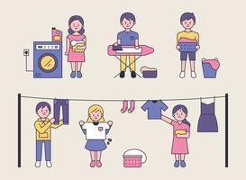 os processos de lavagem da roupa. vetor