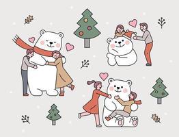 amigo do povo urso branco. vetor