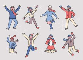 pessoas pulando em roupas de inverno. vetor